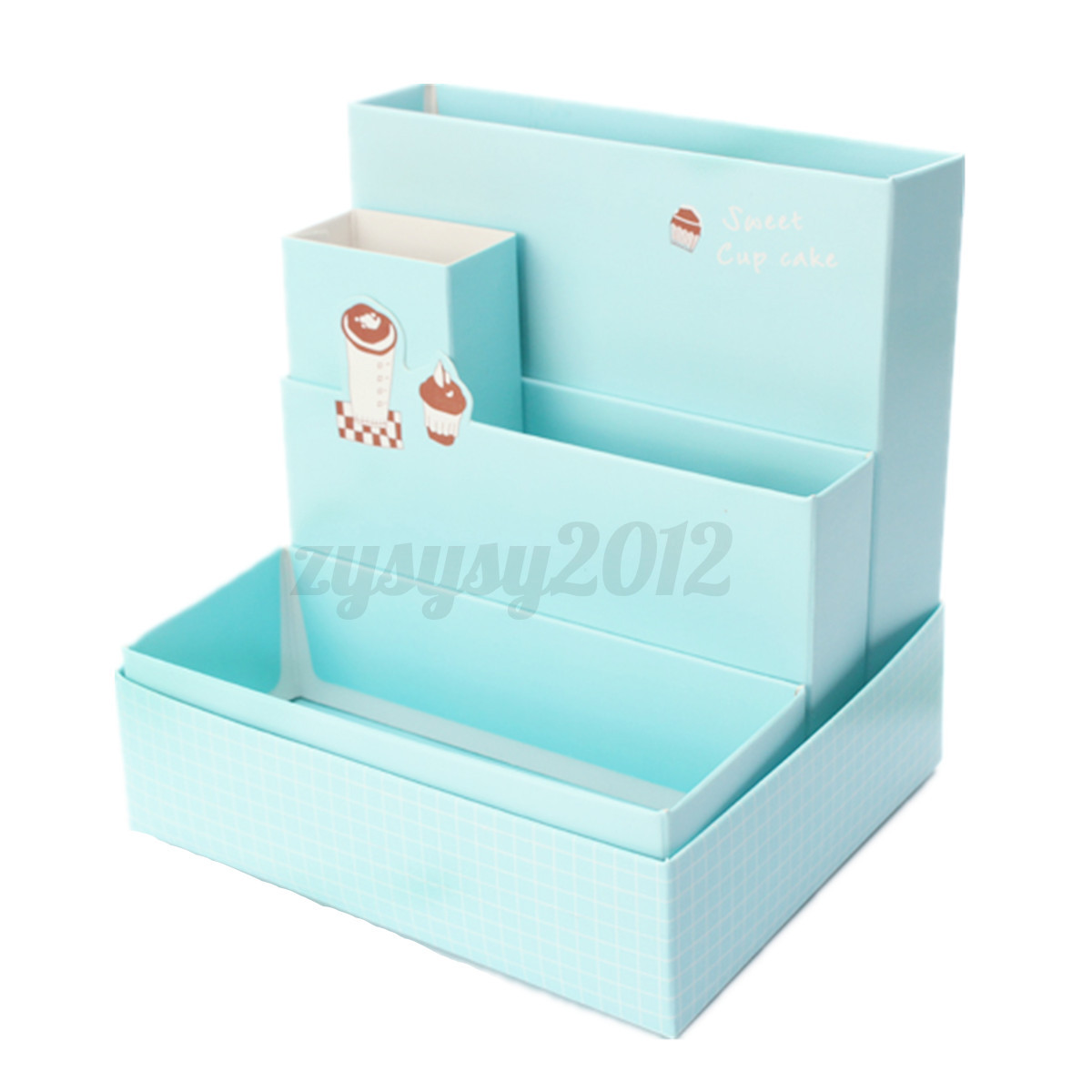 Cute paper storage organizer stationery box makeup - Cute desk organizer ...