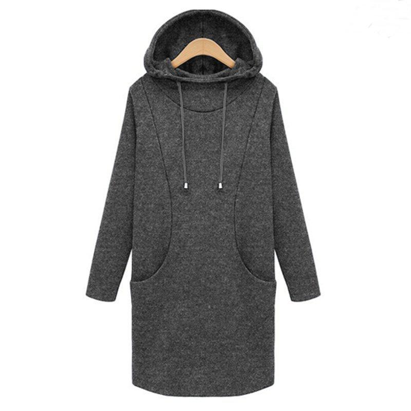 Womens Fleece Hooded Pullover Jumper Sweatshirt Coat Jacket Long Tops Mini Dress