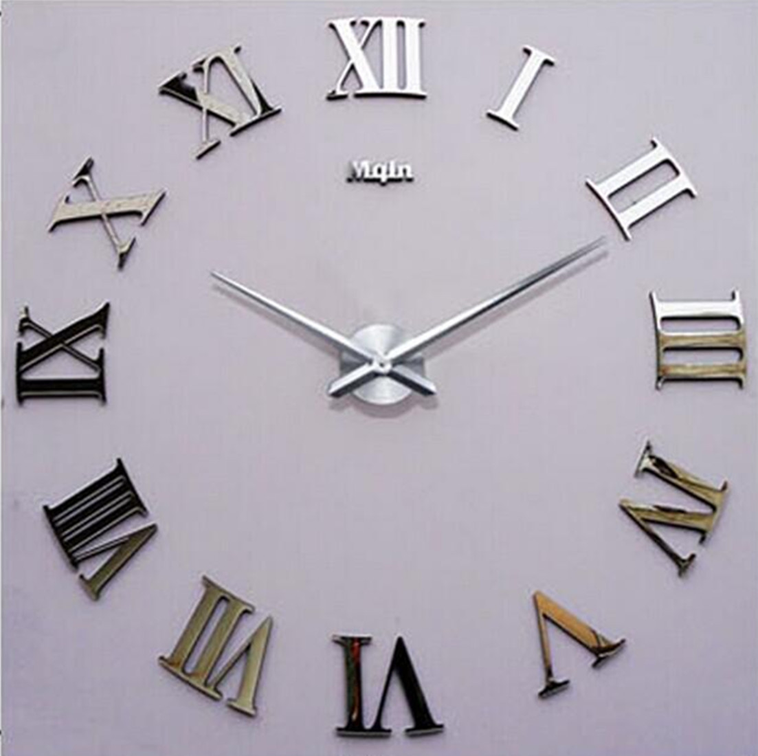 new diy 3d wall clock roman numerals large size mirrors surface luxury art clock ebay. Black Bedroom Furniture Sets. Home Design Ideas
