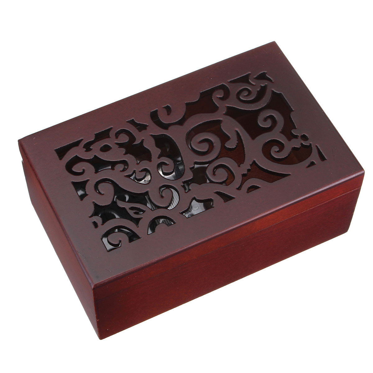 ... -Music-Box-Musical-Finished-Wood-with-Open-Gothic-Pattern-Lid-Jewelry