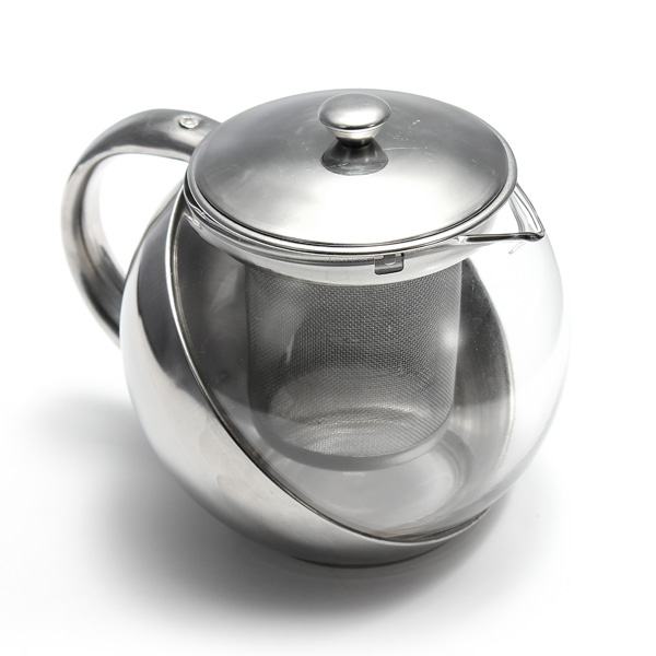 Stainless steel glass tea pot teapot herbal with leaf infuser strainer filter ebay - Tea pots with infuser ...