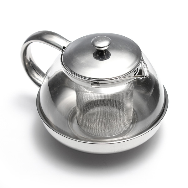 Stainless steel glass tea pot teapot herbal with leaf