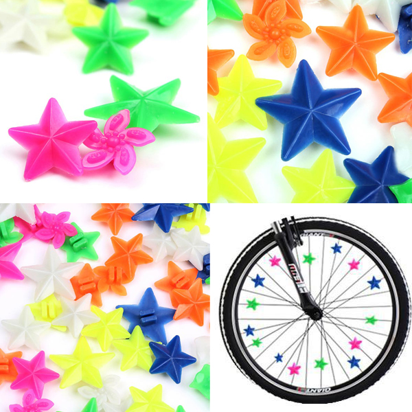 48pcs colorful bike bicycle wheel spoke star beads for for 70 bike decoration