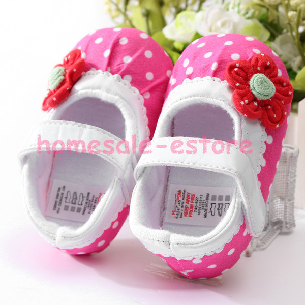 Kids Baby Girls Flower Toddler Mary Janes Polka Dot Soft Sole Velcro Shoes Crib
