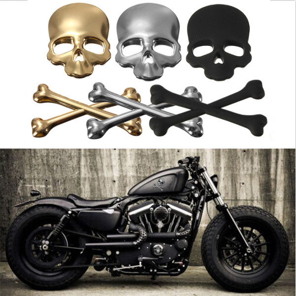 3d auto motorrad aufkleber emblem skull totenkopf sticker tattoo metall design ebay. Black Bedroom Furniture Sets. Home Design Ideas