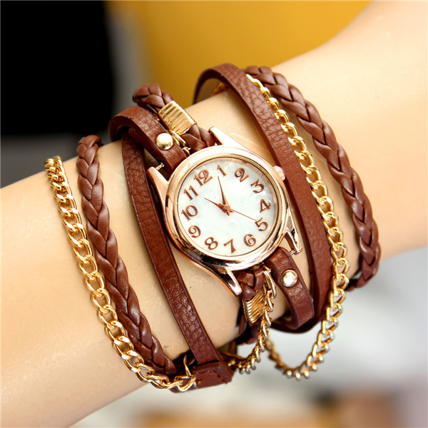 WOMEN LADIES COLORFUL VINTAGE WEAVE WRAP RIVET LEATHER BAND BRACELET WRIST WATCH