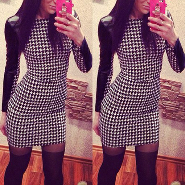 Fashion Sexy Ladies Casual PU Long Sleeve Evening Party Cocktail Mini Dress Slim