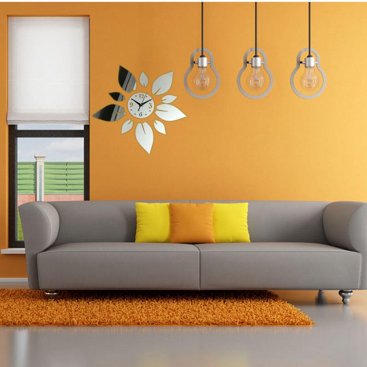 moderne wanduhr wandtattoo wohnzimmer wand uhr spiegel blumen design geschenk ebay. Black Bedroom Furniture Sets. Home Design Ideas