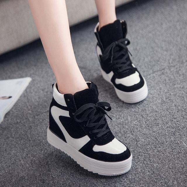 damen schuhe high top sneakers sportschuhe schn rer turnschuhe plateau keilabsat ebay. Black Bedroom Furniture Sets. Home Design Ideas