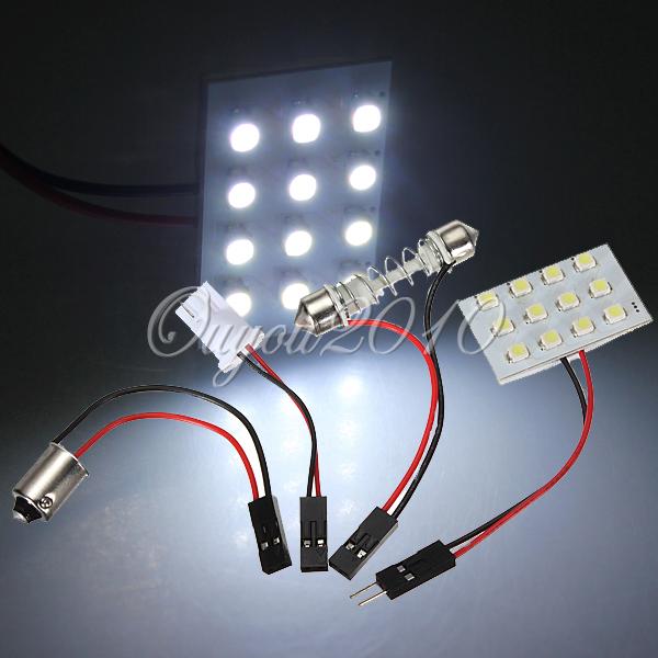 12/24/36/48 LED 3528 SMD Car Auto Light Panel Dome T10 Festoon BA9S Adapter BA2