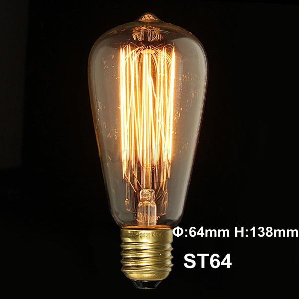 E27 40w Vintage Retro Filament Edison Tungsten Light Bulb: E27 40W 60W Retro Vintage Edison Light Tungsten Filament