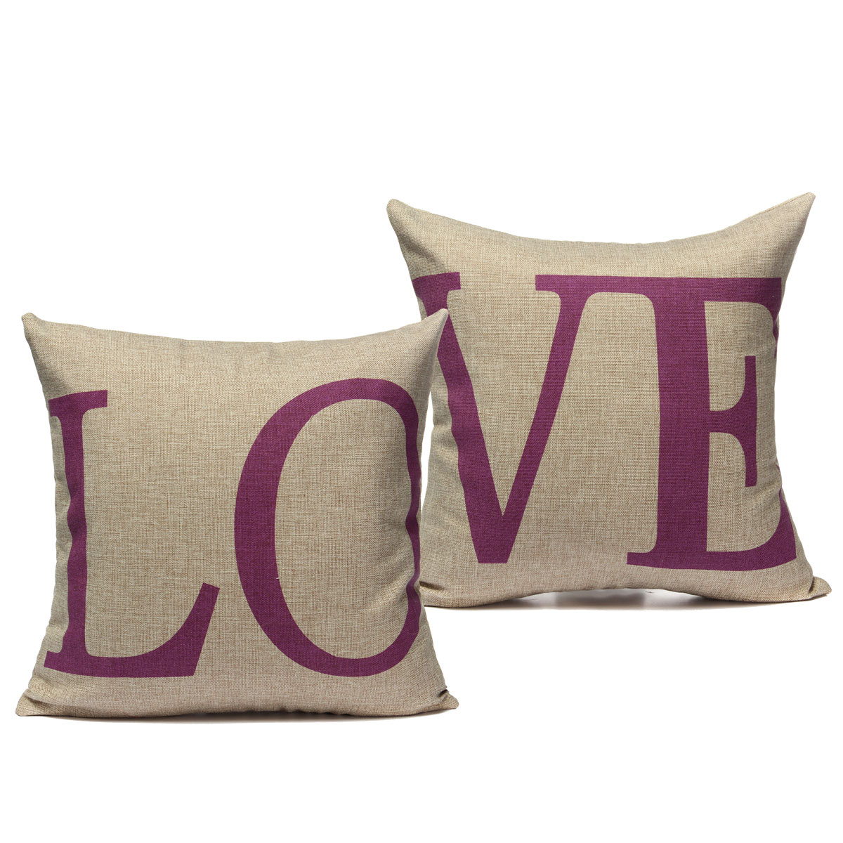 1 pair love lover couple cotton linen throw pillow case for Home decor 2 love