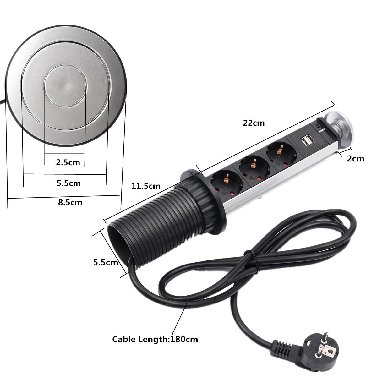 Worktop Kitchen Tensile Power Outlet USB Pop Up Socket EU AU UK 2 ...