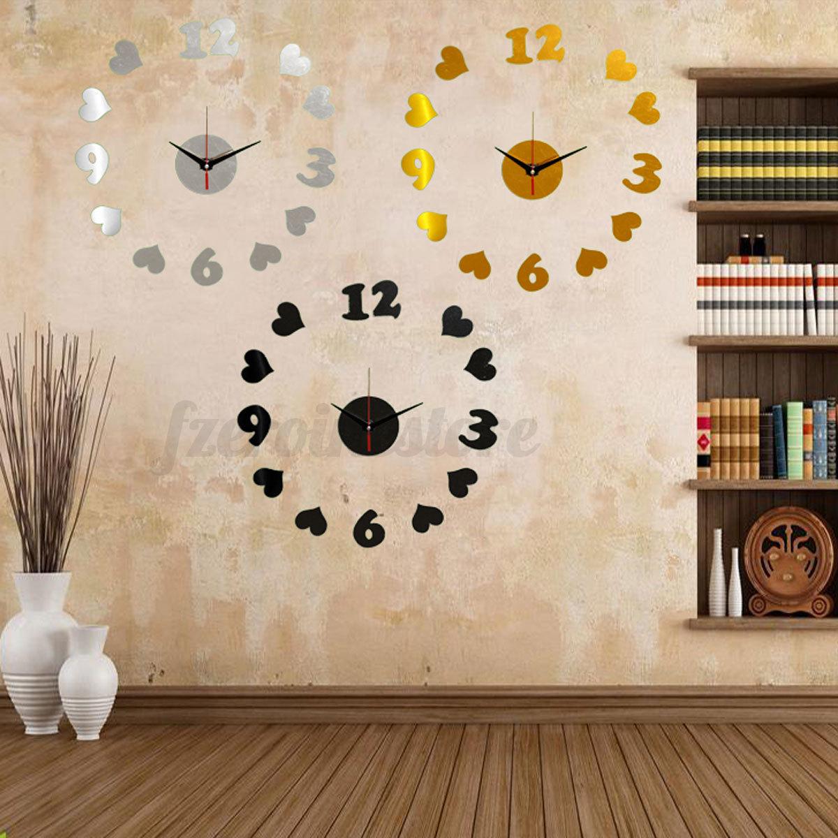 3d modern design wanduhr spiegel wandtattoo wohnzimmer wanddeko ...