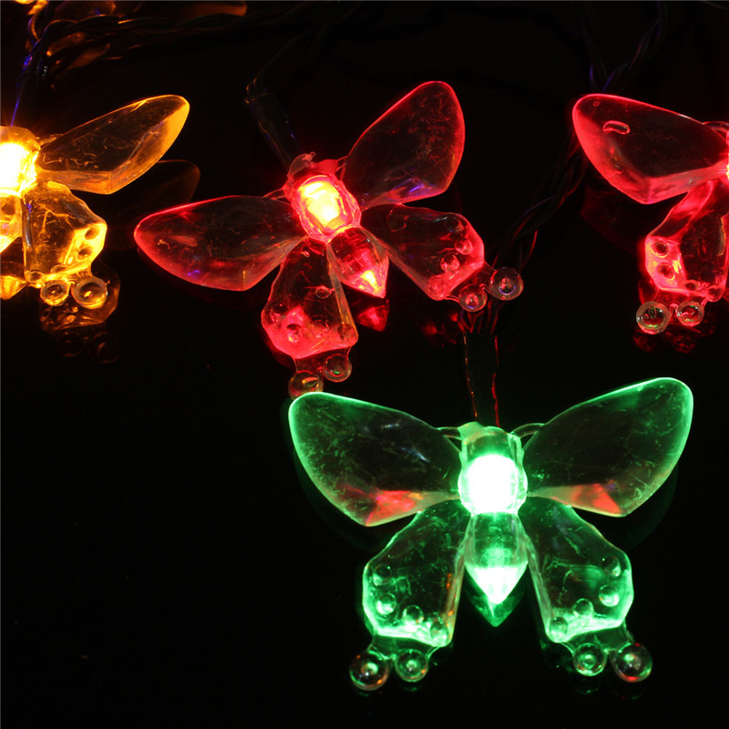 Butterfly Party String Lights : 4 8M 20 LED Solar Fairy Light String Dragonfly Butterfly Garden Pathway Party eBay