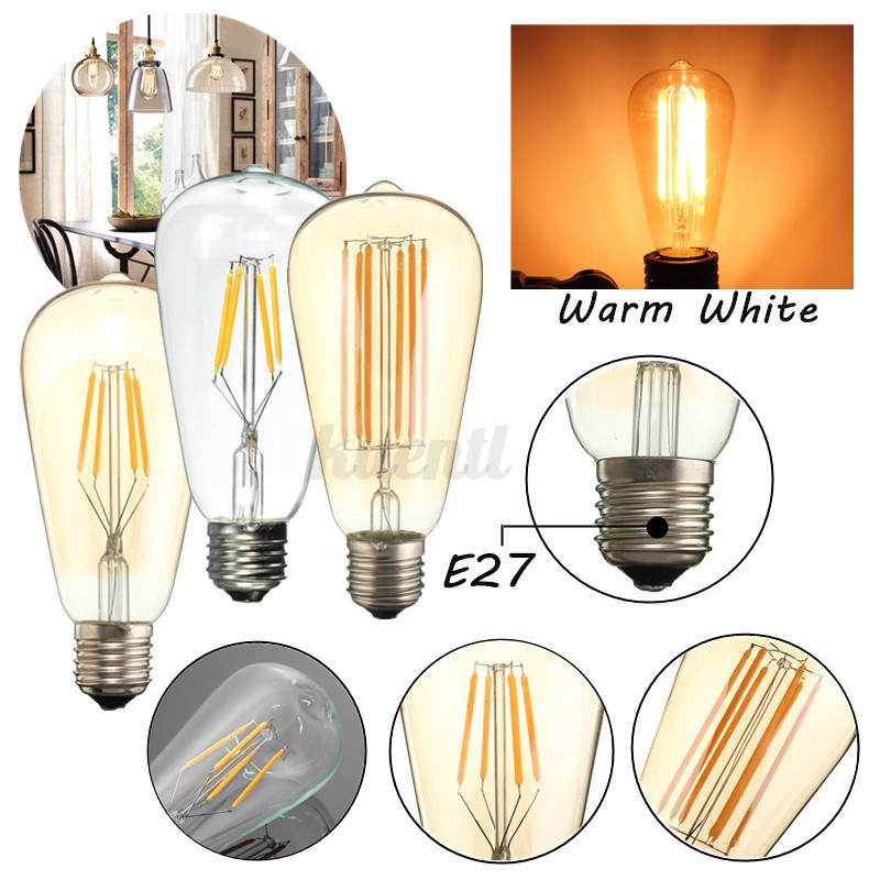 e27 4w 6w led cob edison filament vintage gl hbirne lampe. Black Bedroom Furniture Sets. Home Design Ideas