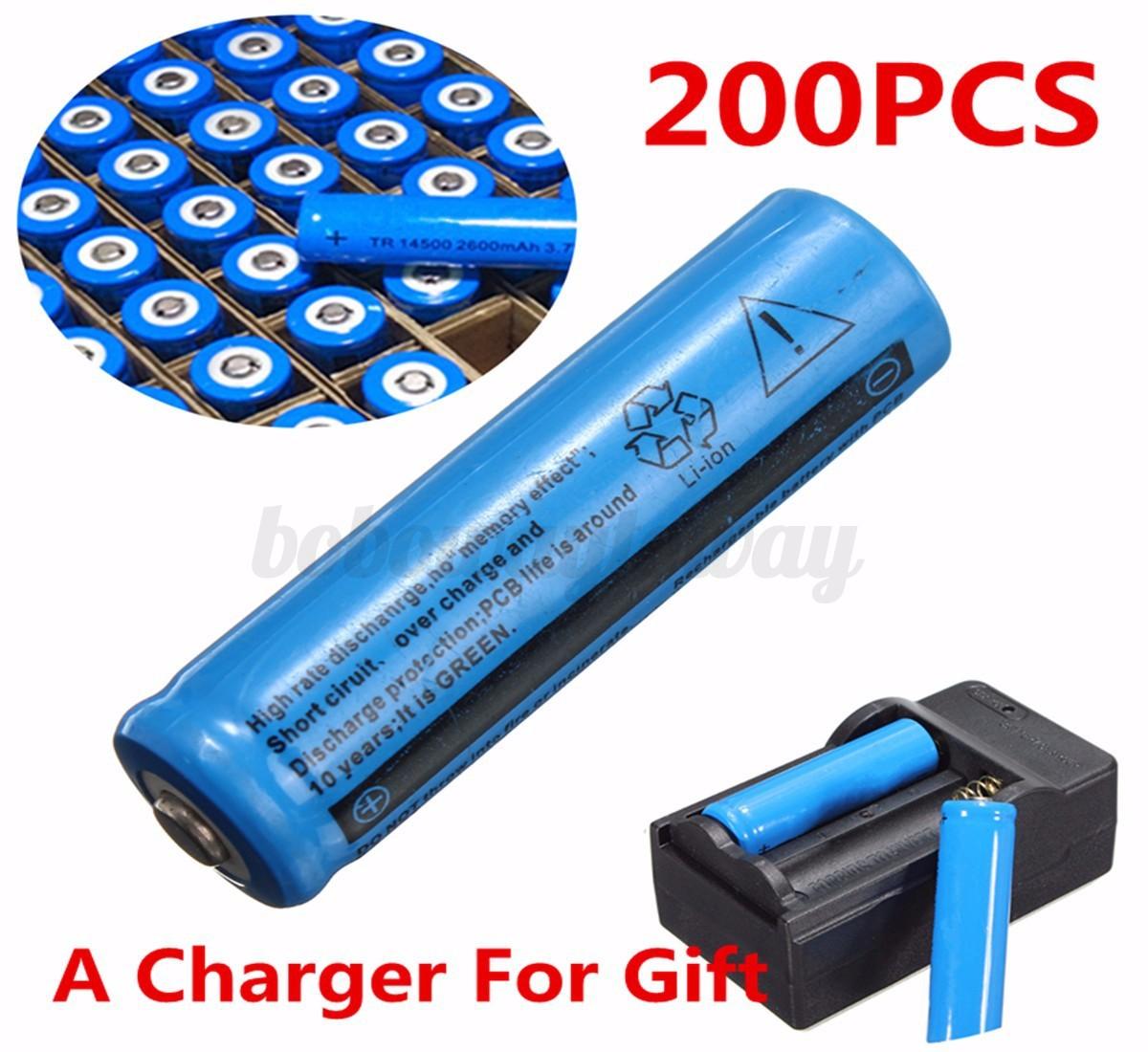 3 7v 1200mah 14500 aa li ion rechargeable batterie pour le torche frontale ebay