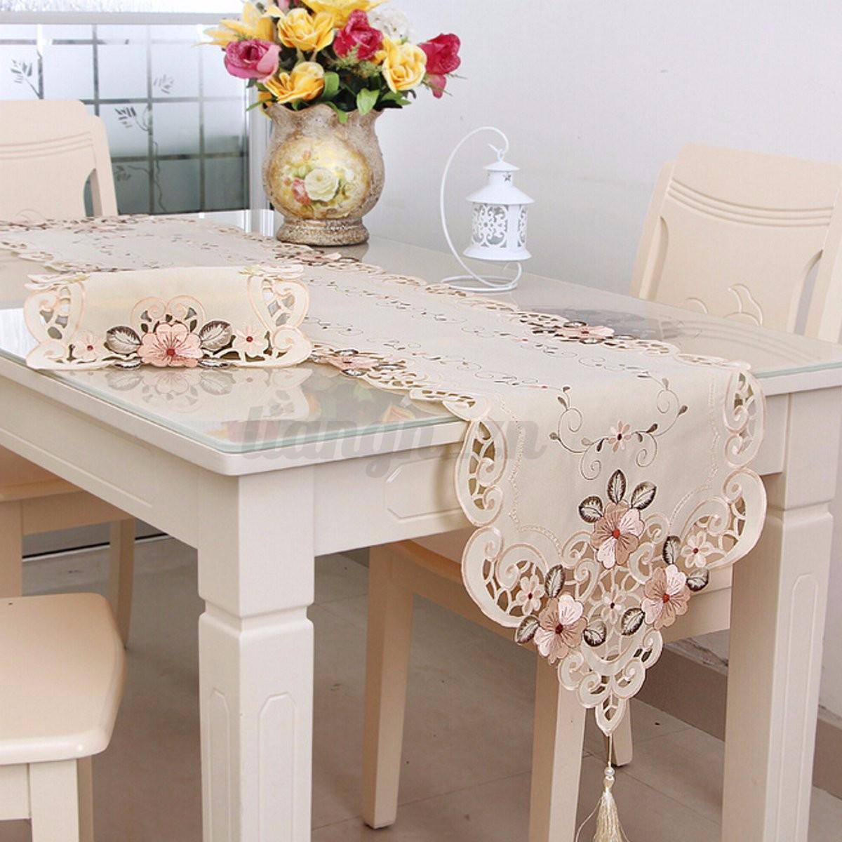 chemin de table d coration nappe napperon fleurs broderie f te mariage 7 styles ebay. Black Bedroom Furniture Sets. Home Design Ideas