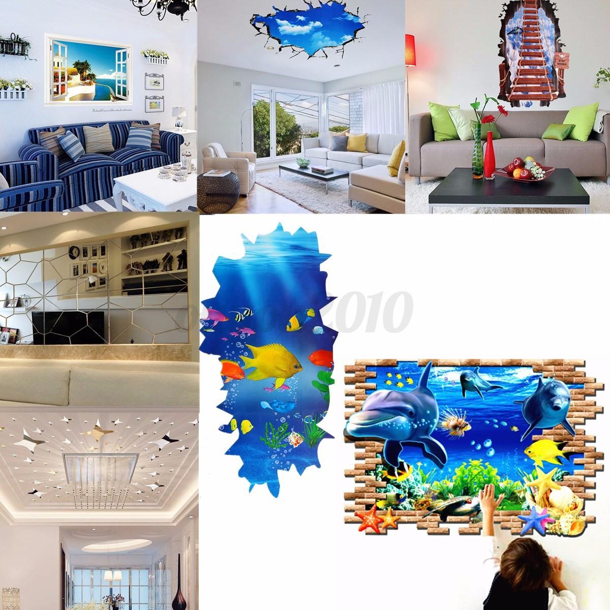 Deko Decke 3d fenster wandtattoo sticker aufkleber spiegel meer decke wohnzimmer deko eur 2 99