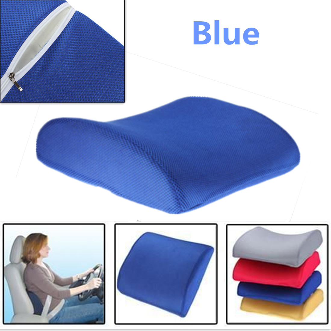 car office home memory foam seat chair lumbar back support cushion pillow new ebay. Black Bedroom Furniture Sets. Home Design Ideas