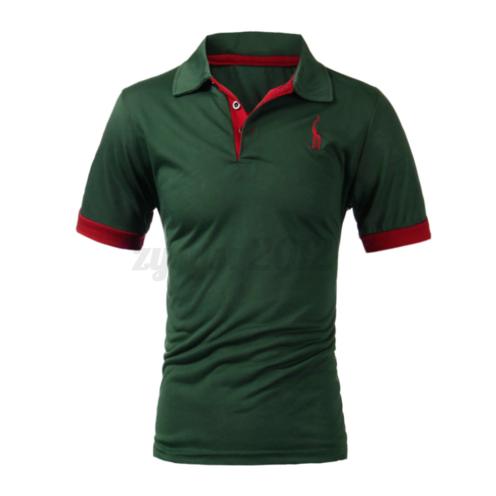 uk stock homme slim fit t shirt casual polo tee chemise manche courte hauts tops ebay. Black Bedroom Furniture Sets. Home Design Ideas