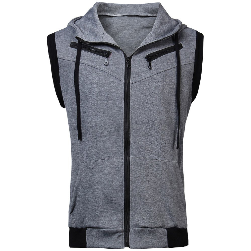 NL STOCK Mens Casual Hoodie Shirt Sleeveless Coat Beach Sport Vest Sweatshirt