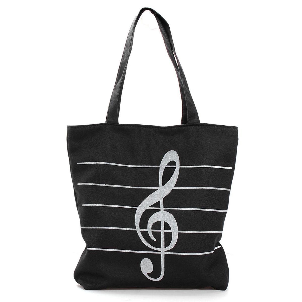 Women Casual Canvas Musical Note Tote Shopping Shoulder Bag Girl Handbag Satchel