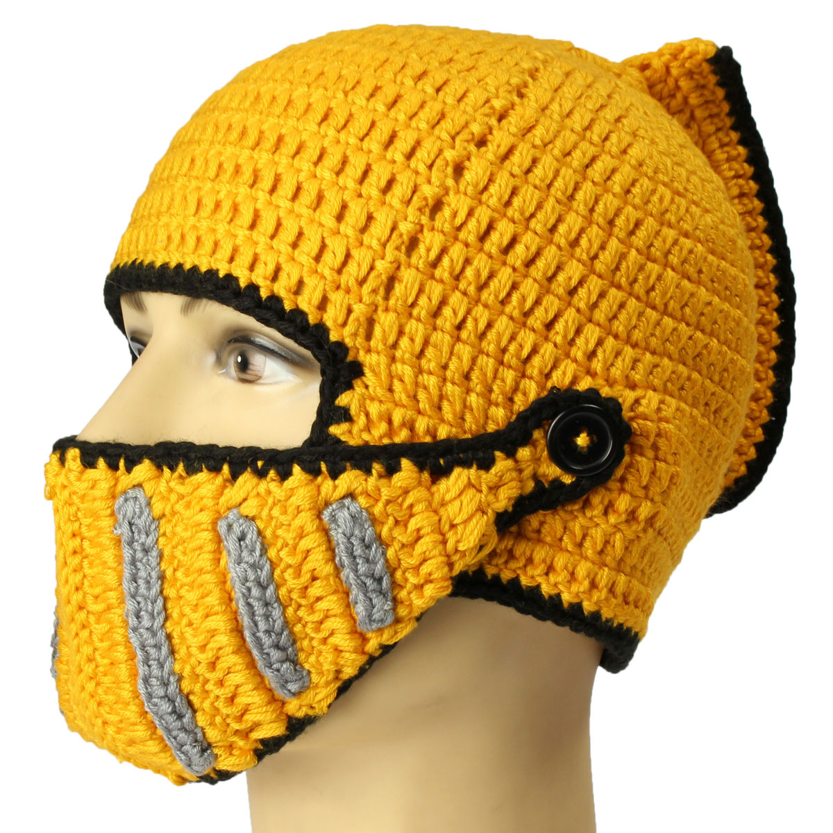 Unisex Men Knit Face Mask Beard Cap Crochet Ski Mustache Winter Warm Beanie Hat