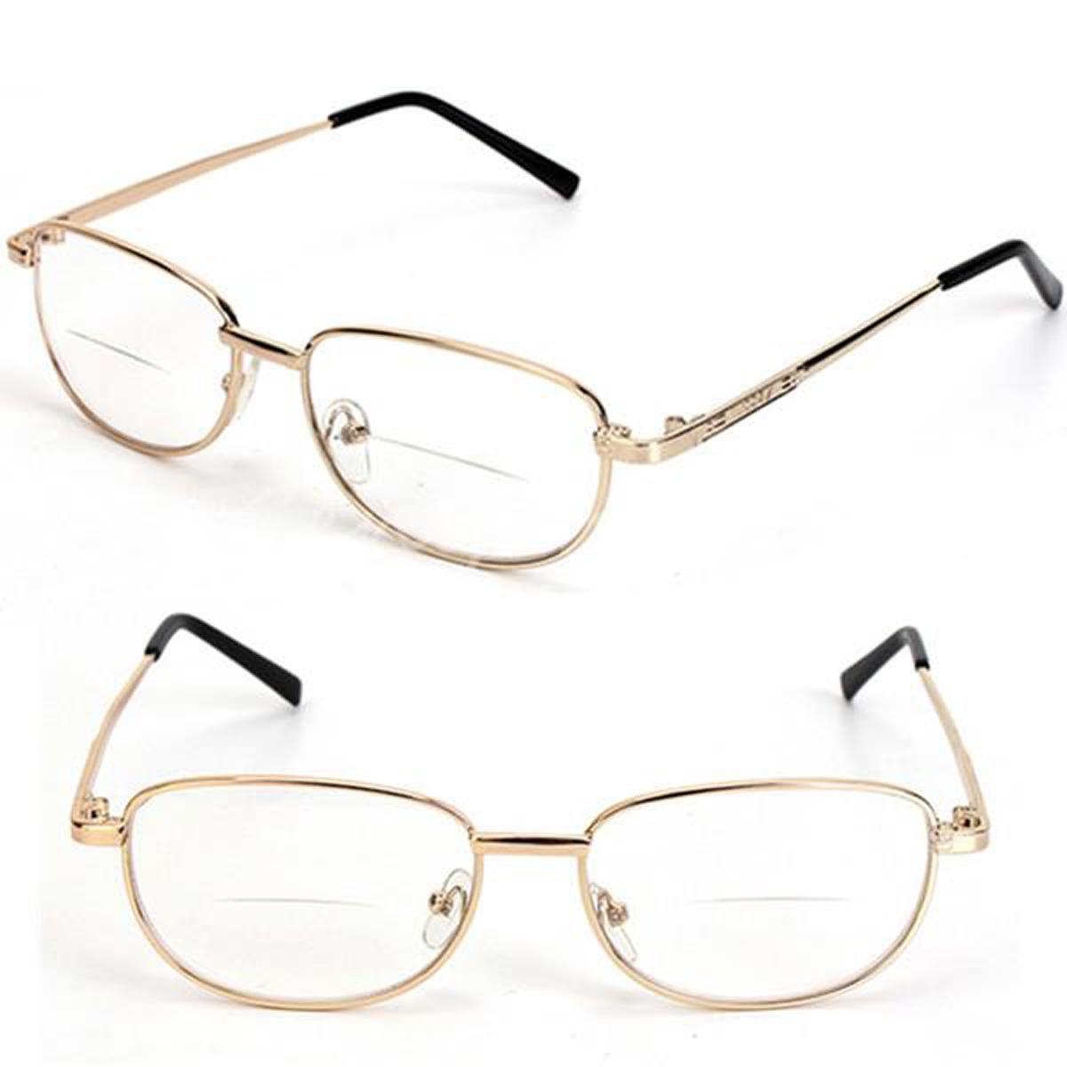 Fashion Bifocal Lens Rimmed Mens Reading Glasses Gold ...