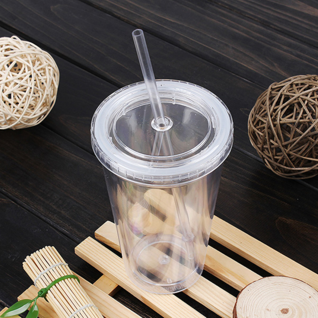 500ml Smoothie Coffee Juice Party Liquid Beaker Lid Plastic Drinks Cup + Straw