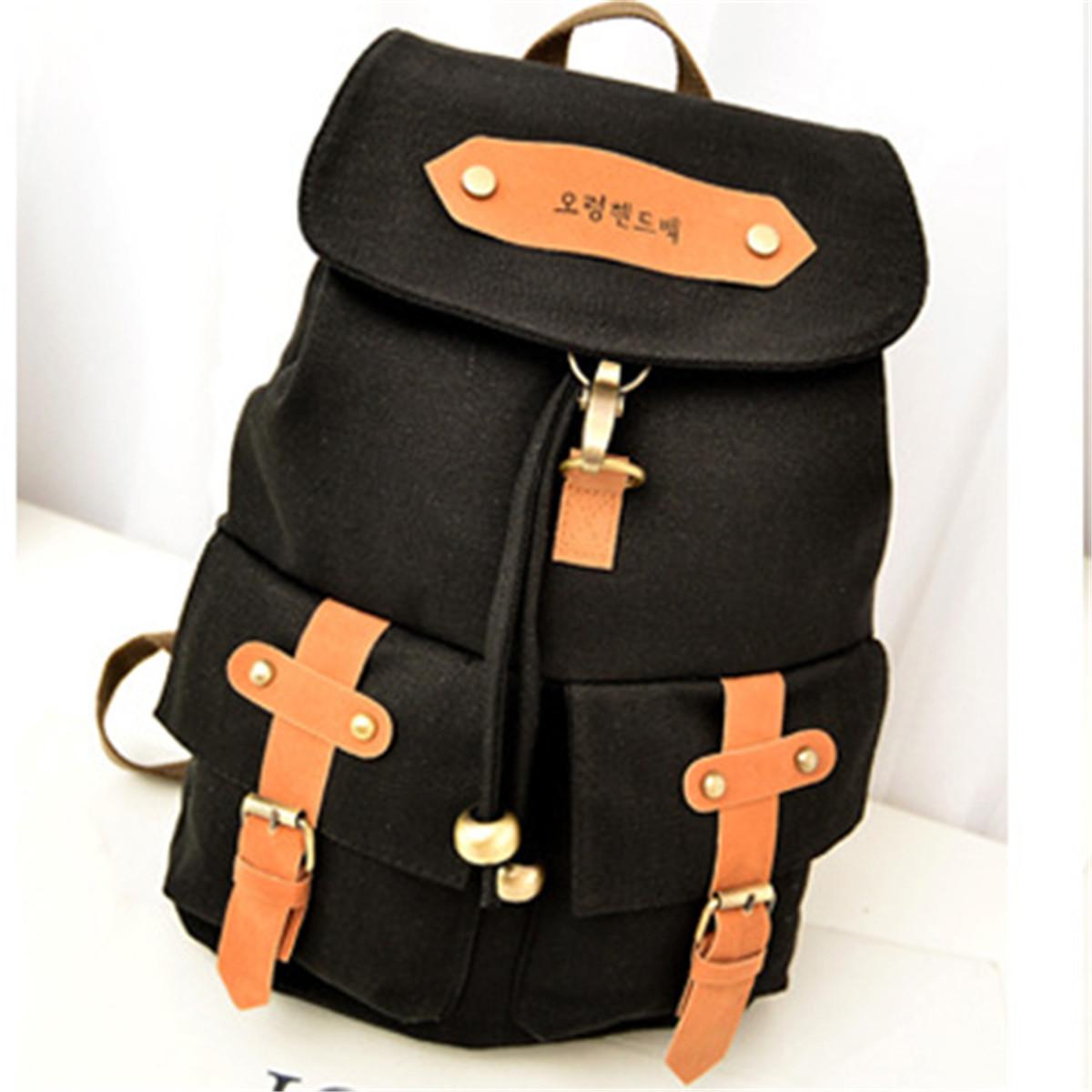 Women Vintage Korean Canvas Travel Satchel Backpack Rucksack Shoulder School Bag
