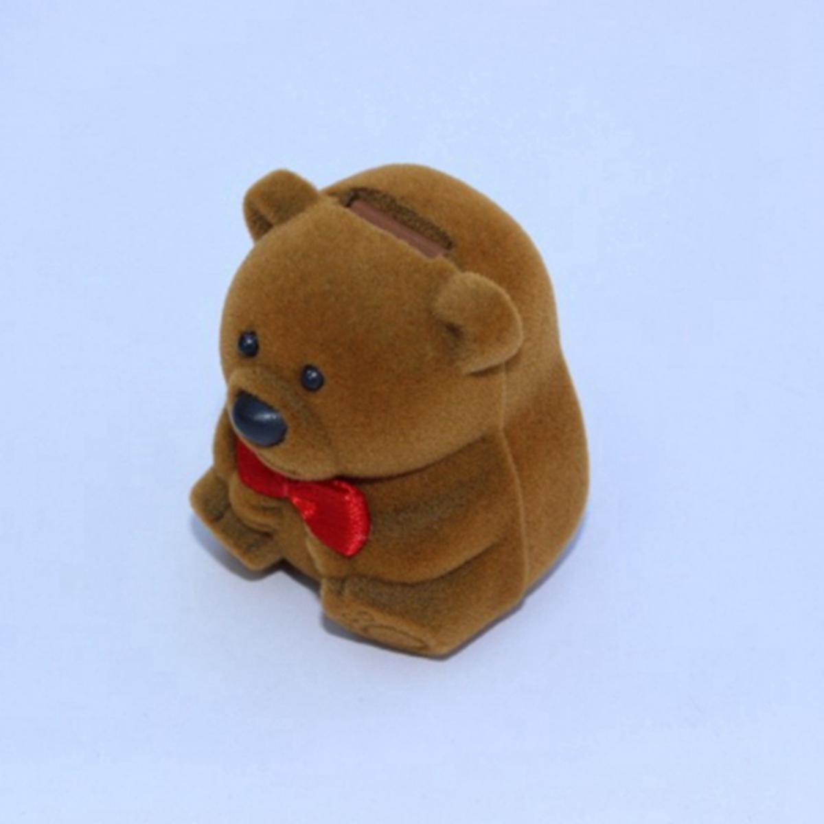 Velvet Bear Ring Earring Jewelry Display Storage Box Gift Case Organizer Holder