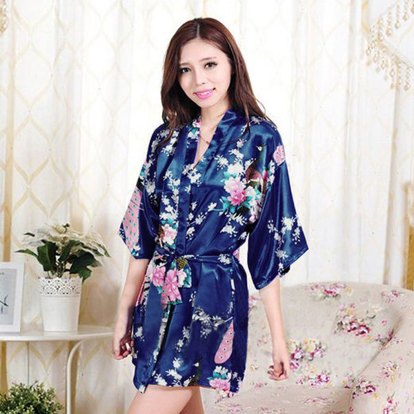 UK Womens Long Silk Kimono Dressing Gown Bath Robe Babydoll Lingerie ...