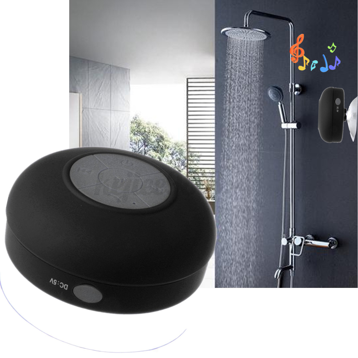 bluetooth lautsprecher saugnapf musik stereo speaker box wasserdicht wireless ebay. Black Bedroom Furniture Sets. Home Design Ideas