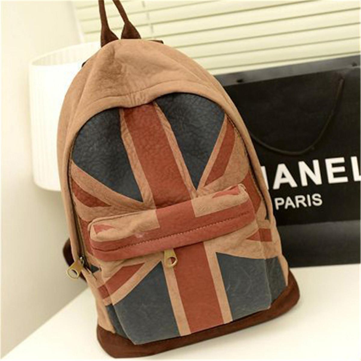 Vintage Women Backpack Shoulder Canvas US/UK Flag School Bag Satchel Rucksack