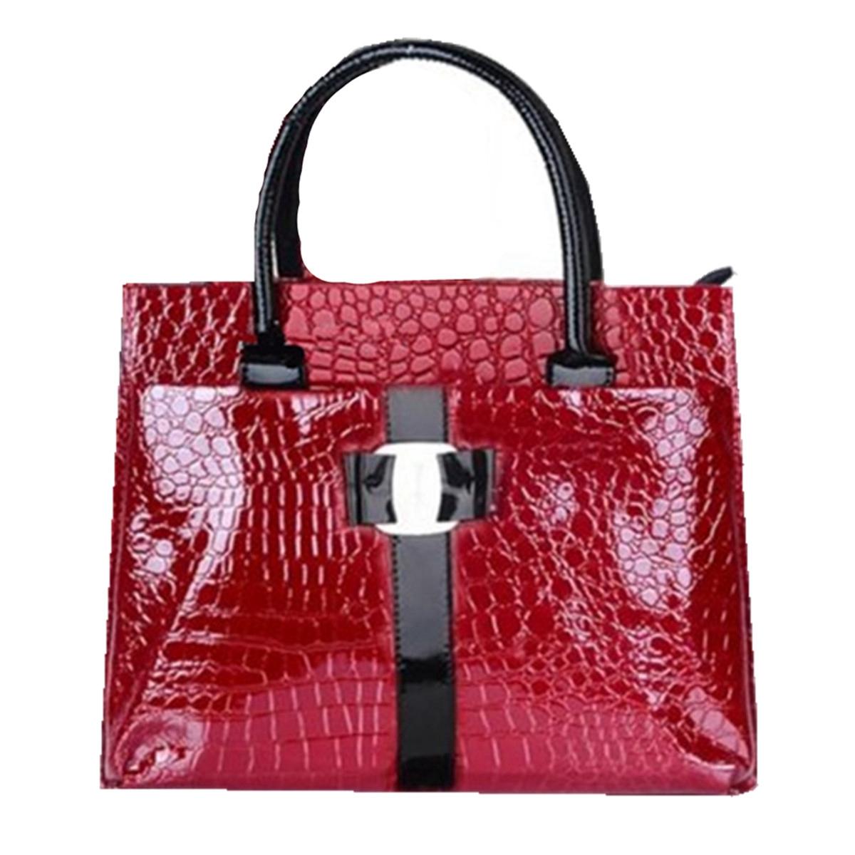 Women OL Lady Crocodile Pattern Leather Shoulder Bag Handbag Satchel Tote New