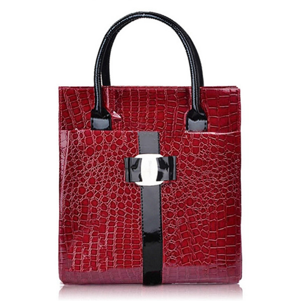 Women OL Lady Crocodile Pattern Leather Shoulder Bag Handbag Satchel Tote New