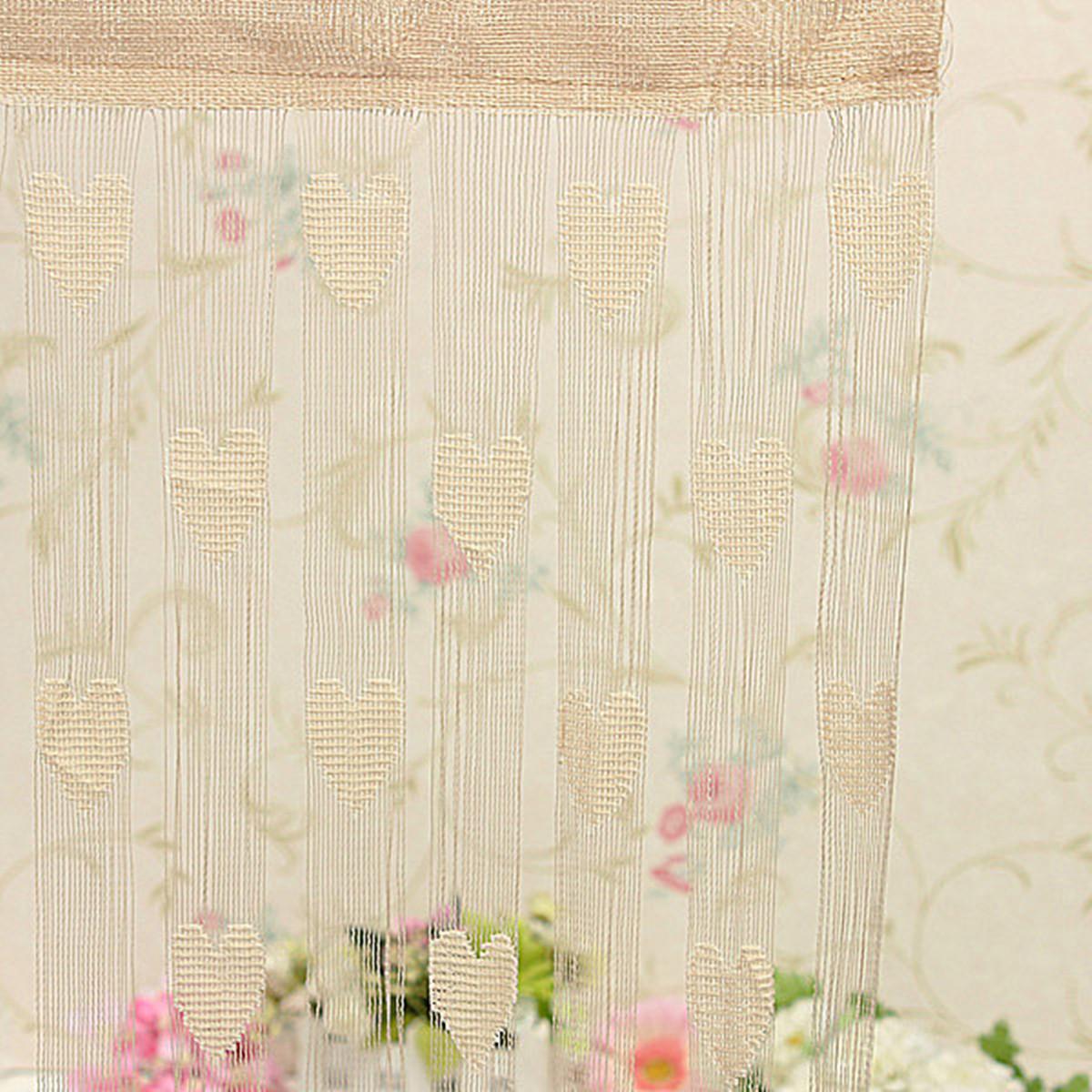 rideau fils fil voilage porte fen tre mod le coeur curtain d cor 200x100cm ebay. Black Bedroom Furniture Sets. Home Design Ideas