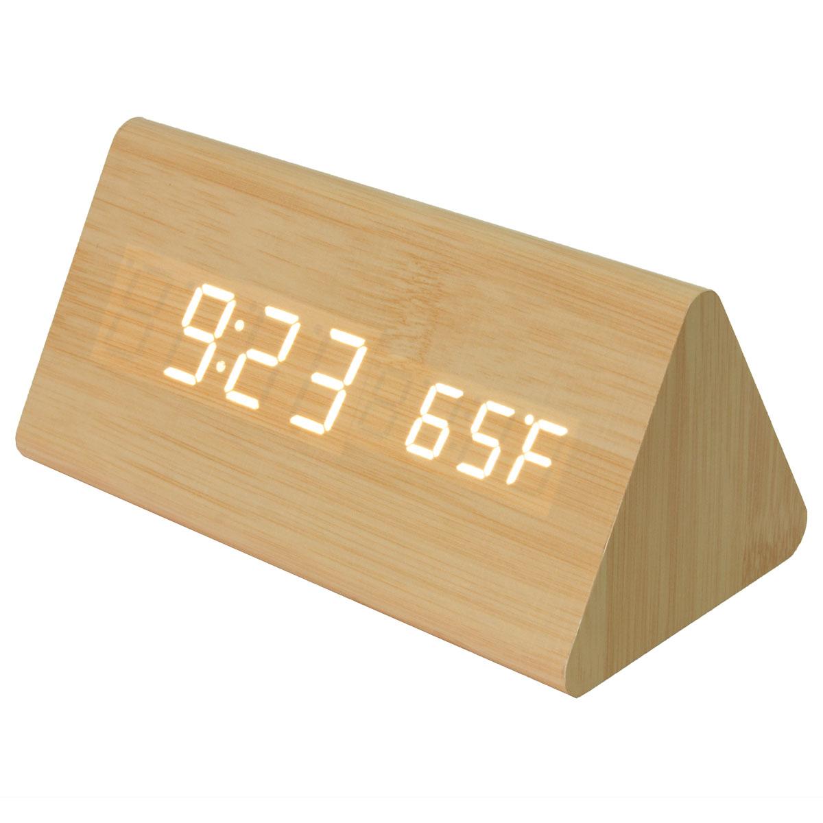 digitaler led wecker thermometer kalender wooden holz alarm temperatur uhr datum ebay. Black Bedroom Furniture Sets. Home Design Ideas