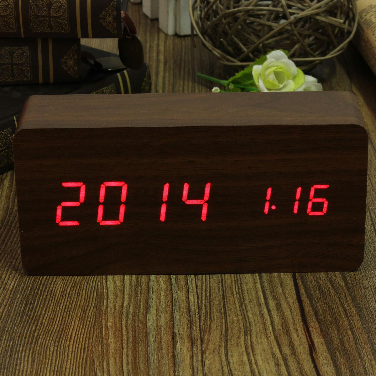 Modern Wooden Led Digital Wood Alarm Time Calendar