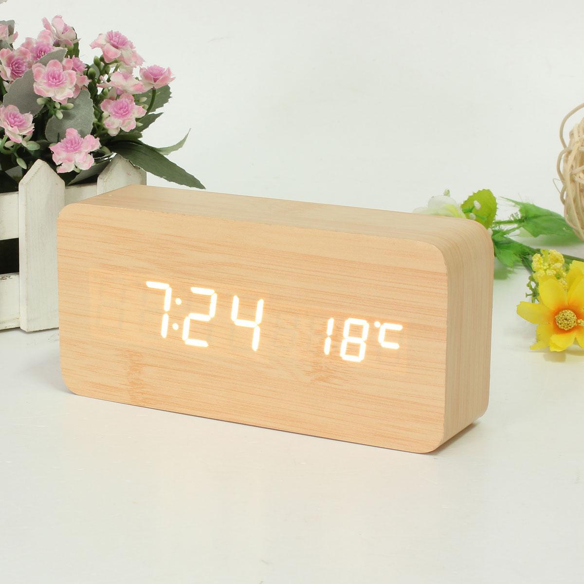 elektrische wooden holz digital led wecker uhr alarm zeit kalender thermometer ebay. Black Bedroom Furniture Sets. Home Design Ideas