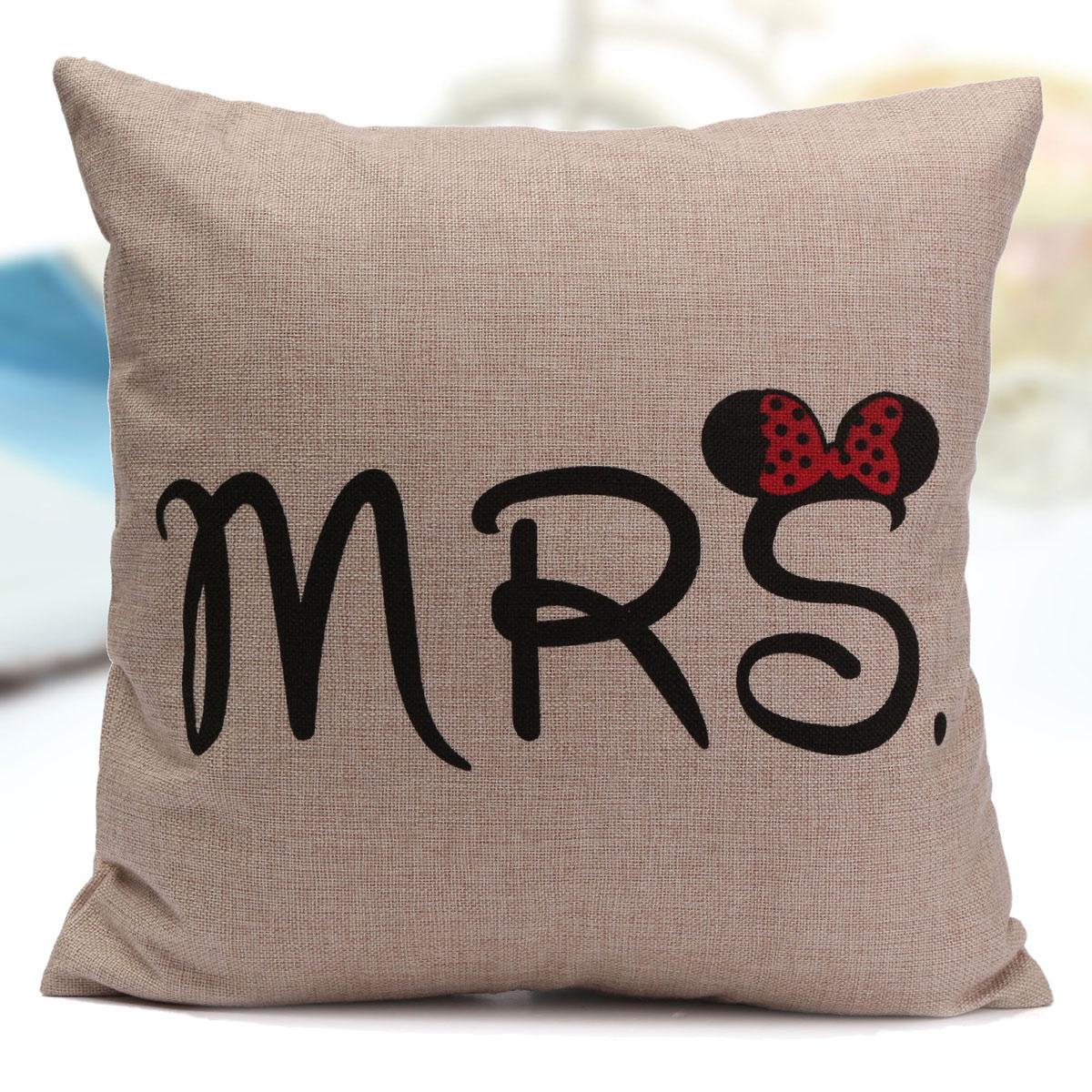 Modern Family Pillow Case : Cartoon Mr Mrs Cotton Linen Pillow Case Sofa Back Throw Cushion Cover Home Decor eBay