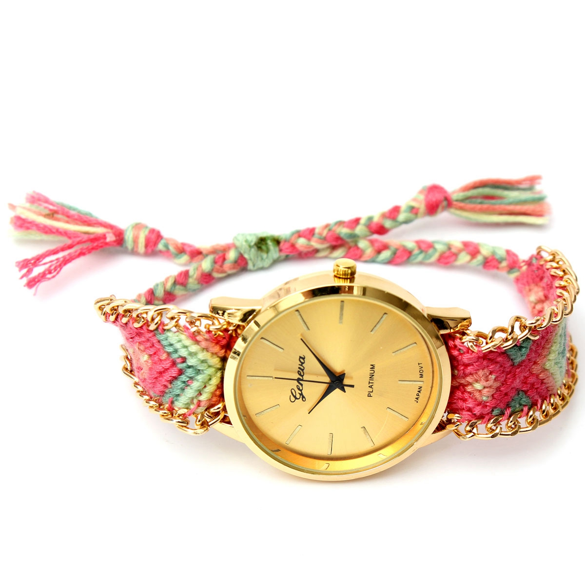 Womens Lady Geneva Ethnic Braided Analog Quartz Chain Wave Bracelet Wrist Watch