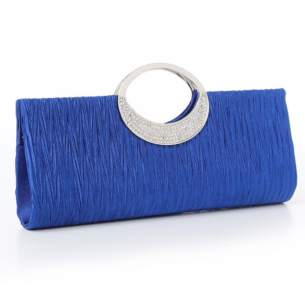 Women Lady Satin Shoulder Purse Clutch Handbag Crystal Bling Evening Party Bag