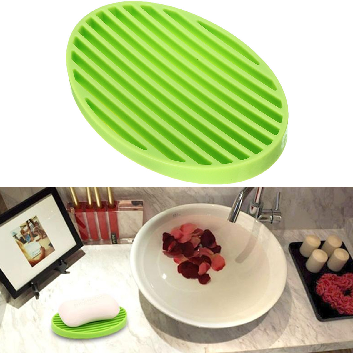Practical Silicone Flexible Soap Dish Plate Holder Placement Soapbox Bathroom