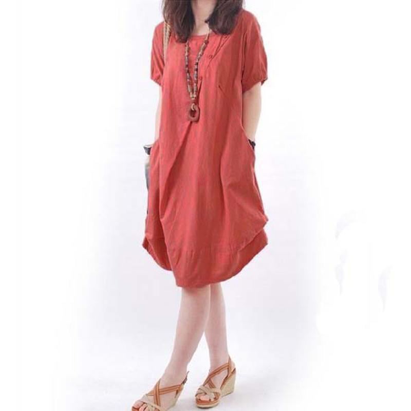 Plus Sizes Women Loose Casual Crew Neck Short Sleeve Pocket Mini Dress 5 Colors