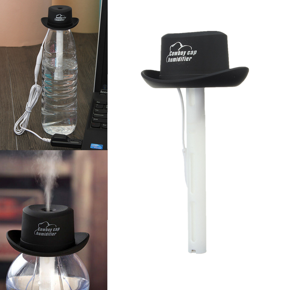 USB Water Bottle Caps Humidifier Aroma Air Diffuser Mist Maker eBay #825E49