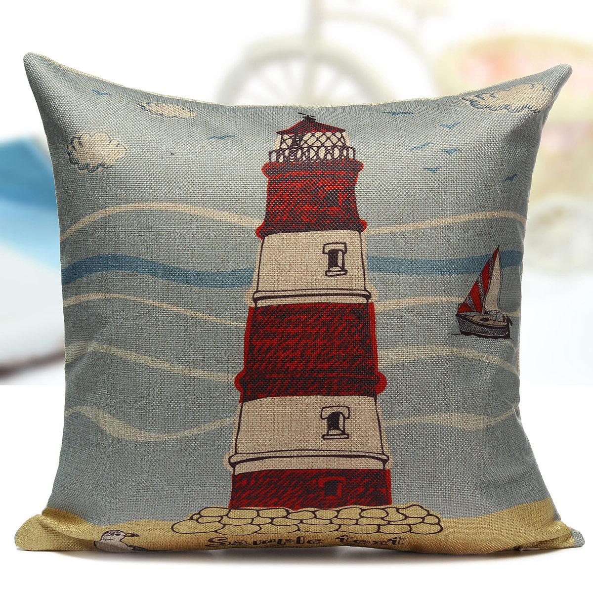Linen Ocean Sailing Boat Throw Pillow Case Car Back Cushion Cover Home Decor