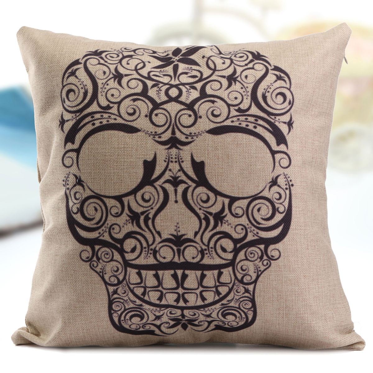 White Linen Throw Pillow : Vintage Black and White Linen Skull Throw Pillow Case Sofa Cushion Cover Decor eBay