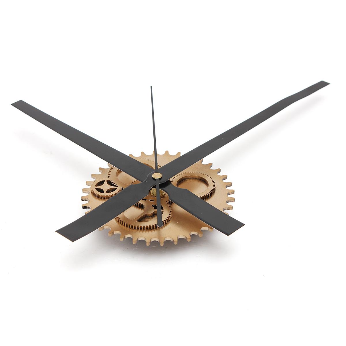 Vintage DIY Mechanism Retro Gear Large Wall Clock Wood